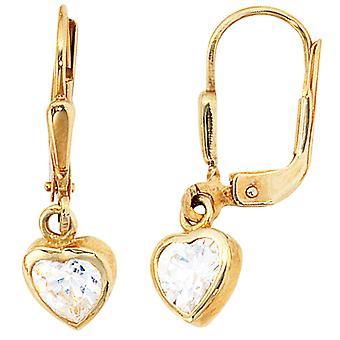 Earrings heart ROXANA 333 gold cubic zirconia earrings