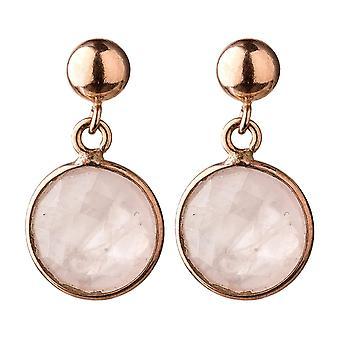 Pendientes GEMSHINE piedras preciosas de cuarzo rosa. 925 pendientes de plata, chapados en oro y rosas