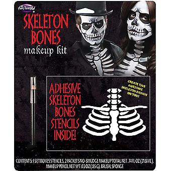 Skelet botten dag van de dood Mexicaanse Halloween Mens kostuum make-up Kit