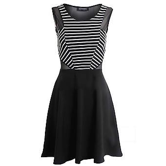 New Ladies Sleeveless Black White Stripe Mesh Insert Women's Skater Dress