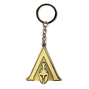 Assassin's creed Odyssey key fob logo gold-coloured, printed, made of metal.