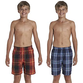 Speedo Boys Kids Junior Swimming Swim Checked Print 15 Inch Water Shorts