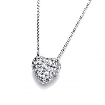 Cavendish francese CZ piccolo intaglio cuore ciondolo in argento Sterling con 16-18