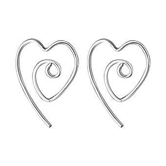 Heart - 925 Sterling Silver Plain Earrings - W20234X