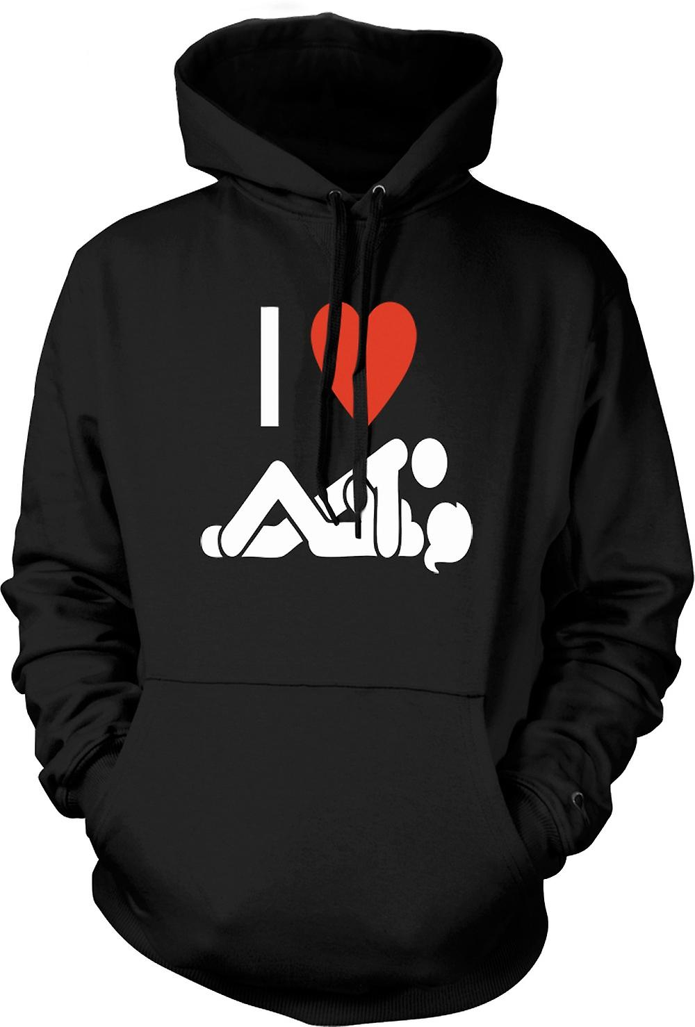 Mens Hoodie - I love Heart Sex - Funny