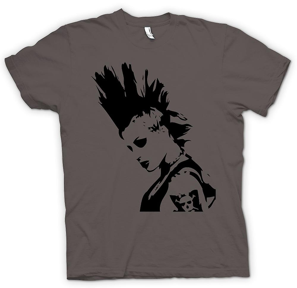 T-shirt Femmes - Punk Rocker Mohican Girl - BW - Pop Art