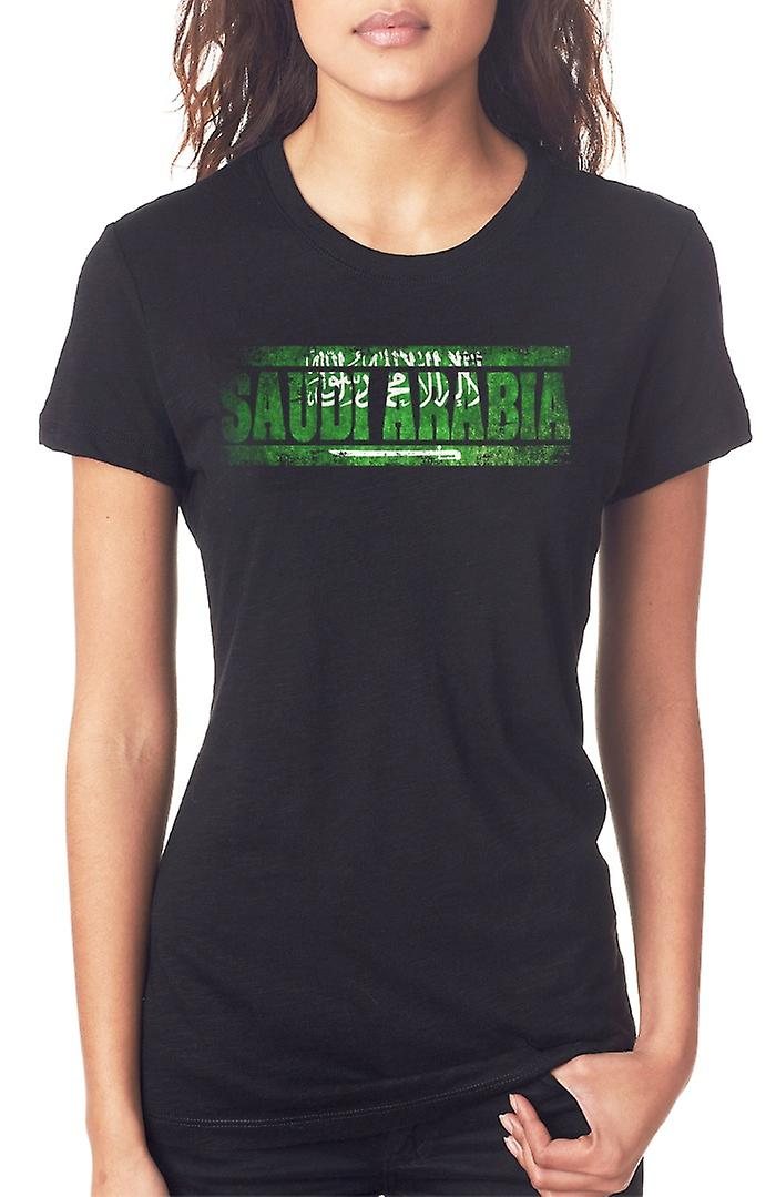 Saudia Arabian Saudi Arabia Flag - Words Ladies T Shirt