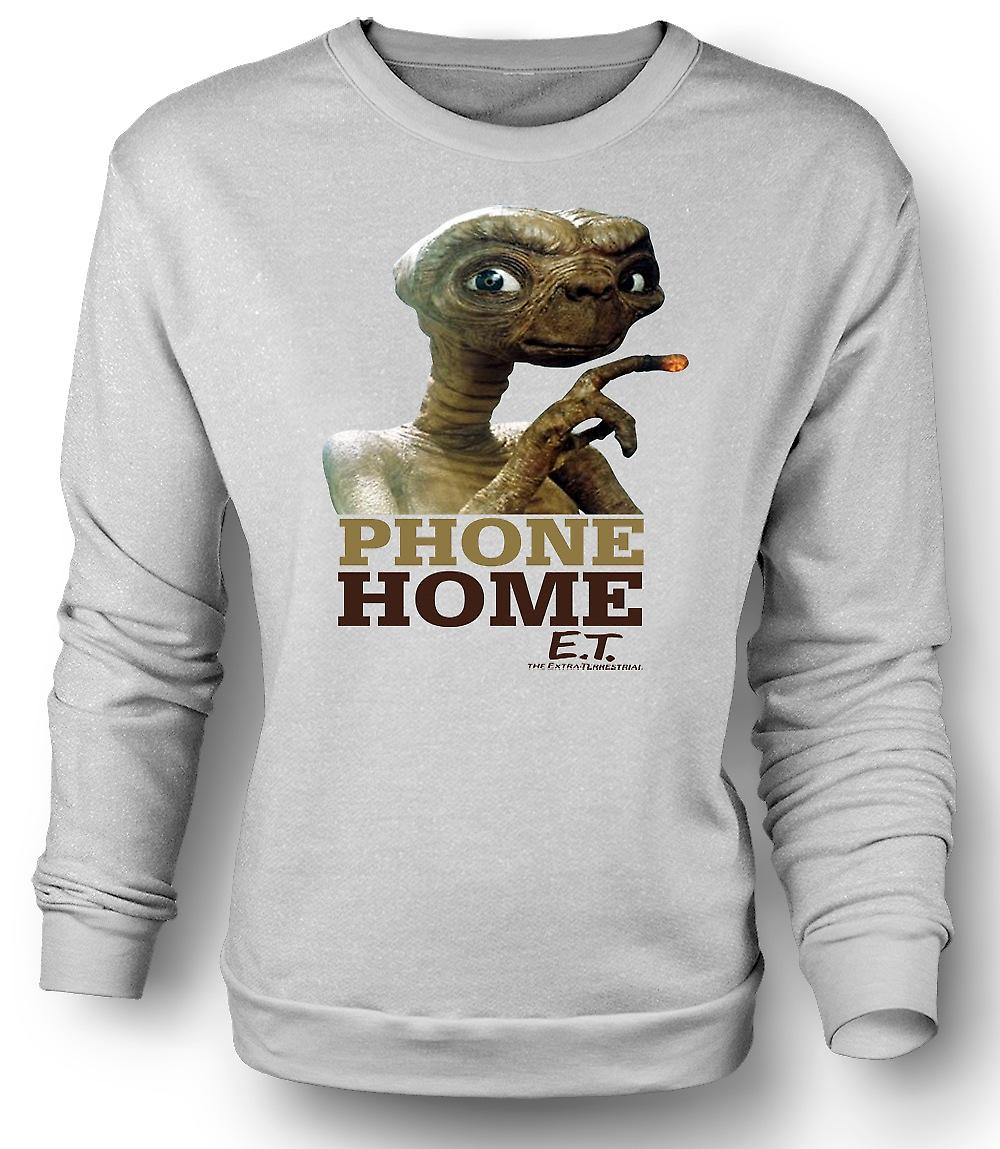 Mens Sweatshirt ET Phone Home - Cute - Alien