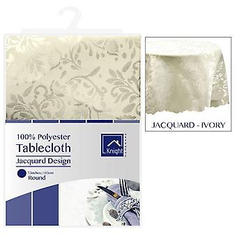 72 INCHES ROUND POLYESTER TABLE COVER IVORY JACQUARD DESIGN
