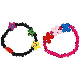 The Olivia Collection Children Pack Of 2 black & Hot pink Wood Bead Bracelets
