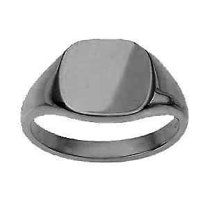 18ct White Gold 13x13mm solid plain cushion Signet Ring Size T