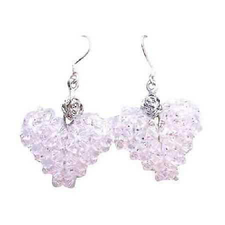 Clear Crystals Swarovski Puffy Heart Pure White Earrings