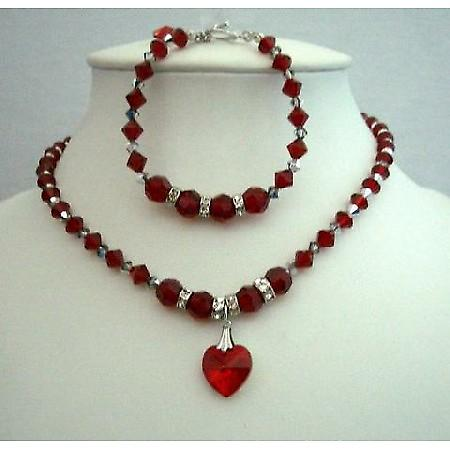 Handmade Necklace & Bracelet Swarovski Siam Red Crystals Heart Pendant