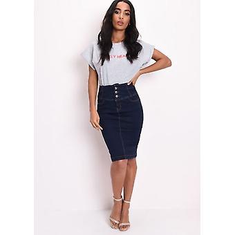 Triple Button Up High Waisted Denim Midi Skirt Indigo Blue