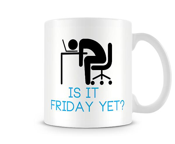 Decorative Writing Is It Friday Yet? Stick Man At Desk Printed Text Mug