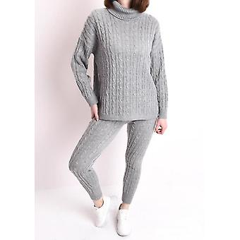 Roll Neck Cable Knit Loungewear Set Grey
