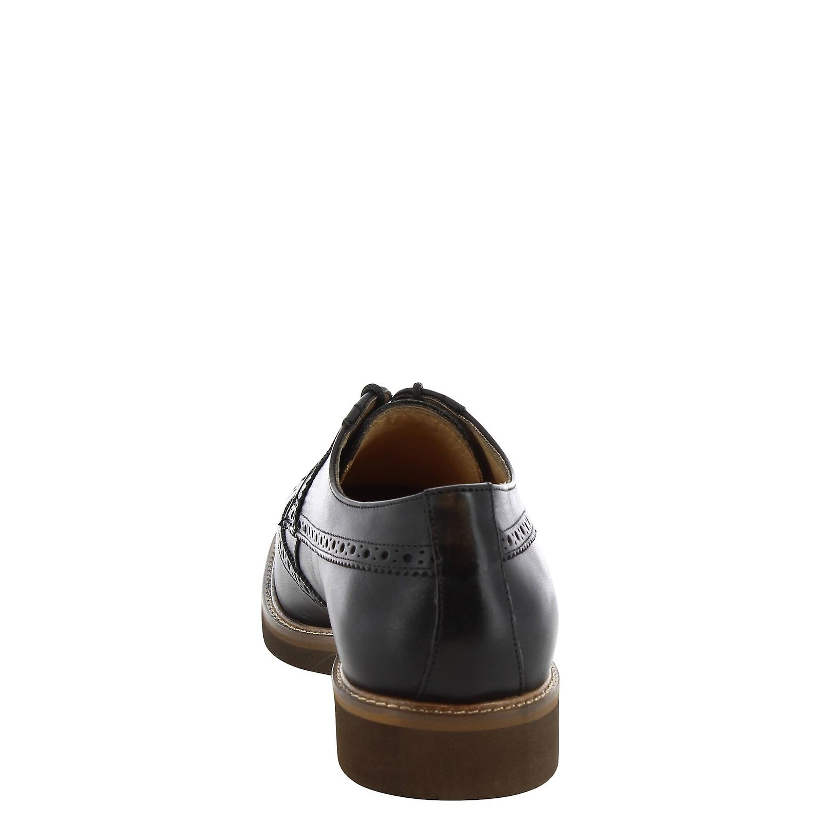 Leonardo Shoes Man's handmade derbies lace ups with brogues in black leather