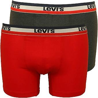 Levi ' s 2-pack 200sf Levis stripe Midje band Boxer trosor, röd/svart