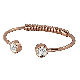 Eternal Collection Curiosity Clear Crystal Rose Gold Tone Spring Torque Bangle