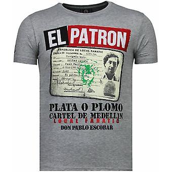El Patron Narcos Billionaire-Rhinestone T-shirt-Grey