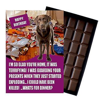 Chocolade Labrador Retriever giften voor verjaardag hond minnaar boxed chocolade wenskaart aanwezig