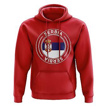 Serbia Football Badge Hoodie (Red)