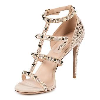 Valentino Metallic Pink Rockstud Sandals with Crystals