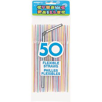 Flexible Straws 50 Pkg Striped Ups250