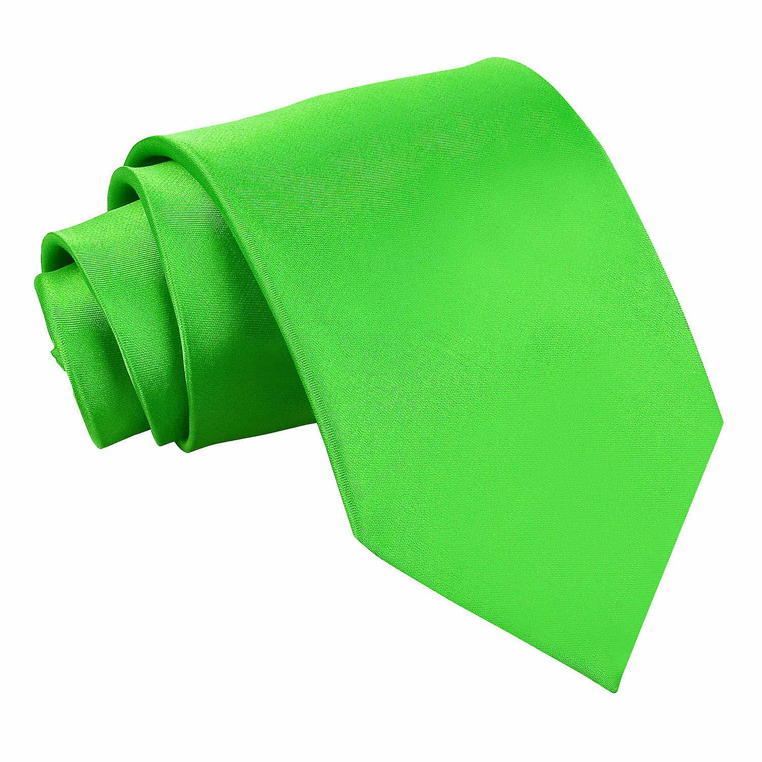 Plain Apple Green Satin Extra Long Tie