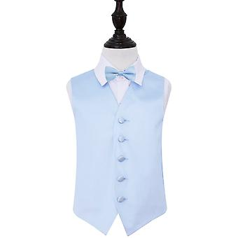 Boy's Baby Blue Plain Satin Wedding Waistcoat & Bow Tie Set