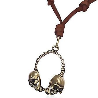 Urban Male Adjustable Brown Leather Necklace Gold Skull Pendant