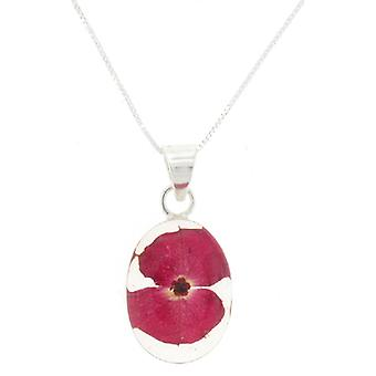 Shrieking Violet Sterling Silver Real Red Poppy Flower Oval Pendant