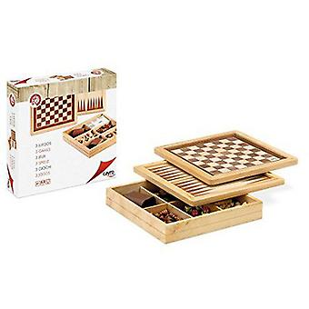 Cayro Game Marquetry Chess - Checkers - Backgammon (Speelgoed , Bordspellen , Strategie)