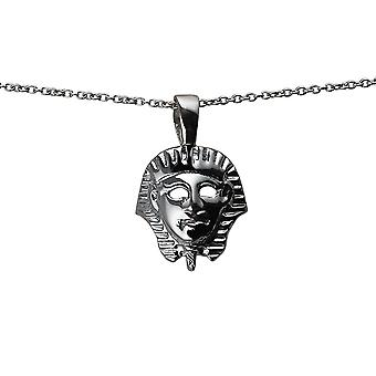 Silver 17x16mm Egyptian Mask Pendant with a rolo Chain 14 inches Only Suitable for Children