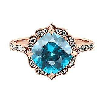 14K Rose Gold 3.25 ctw Blue Topaz Ring with Diamonds Flower Leaves Halo