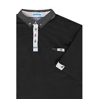 D555 Zwarte Polo Shirt met geweven kraag