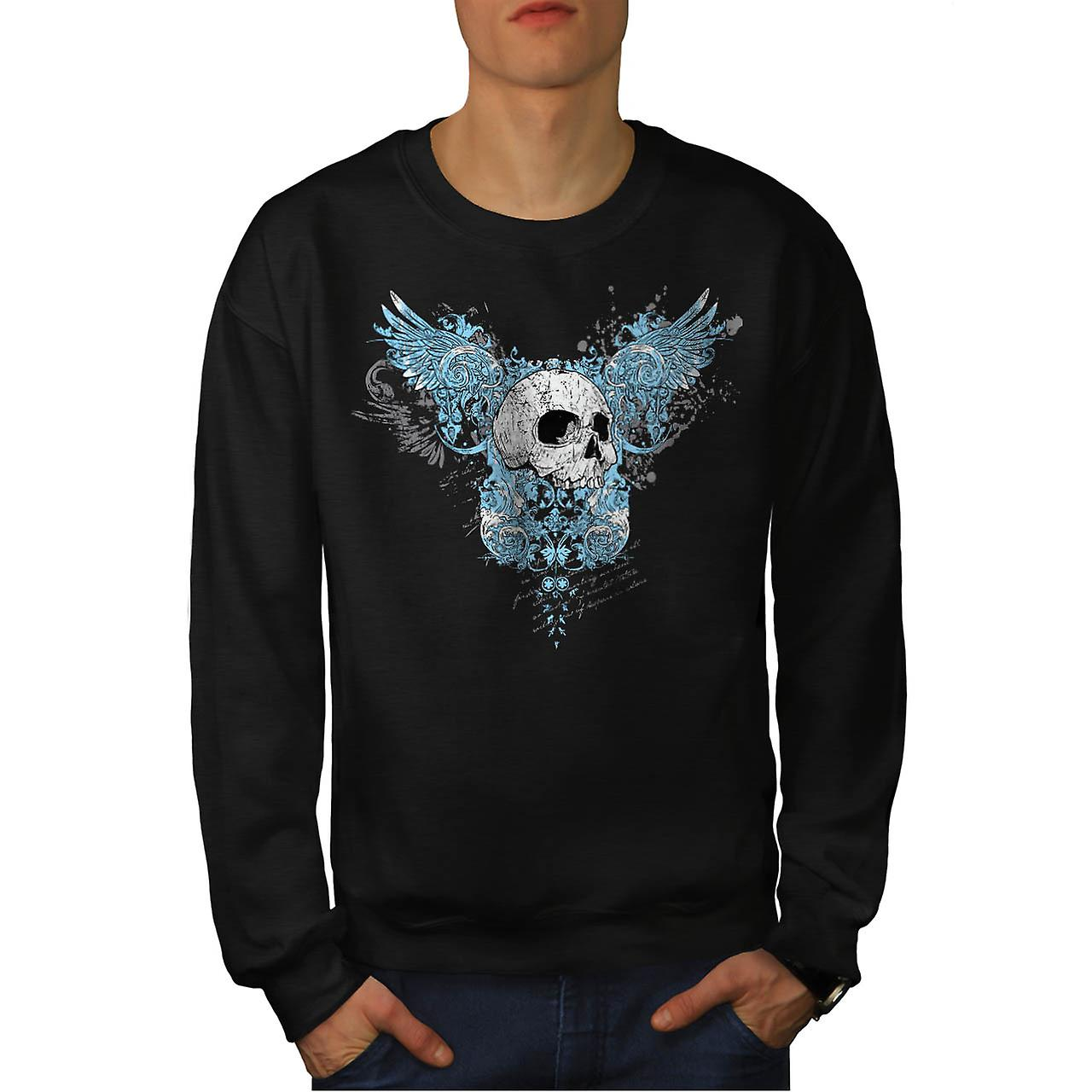 Hell Heaven Skull Jaw Angel Wing Men Black Sweatshirt | Wellcoda