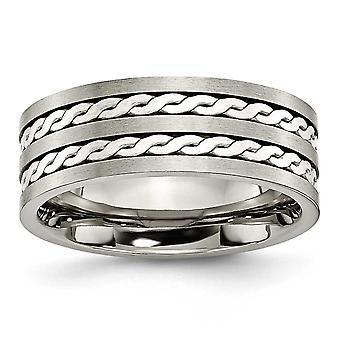 Titanium Sterling sølv Inlay 8mm børstet og antikke Band Ring - størrelse 14,5