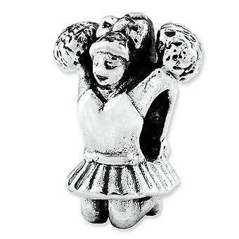 Sterling Silver Polished Antique finish Reflections Cheerleader Bead Charm