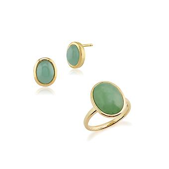Gemondo 9ct Yellow Gold Bezel Set Jade Cabochon Oval Stud Earring & Ring Set