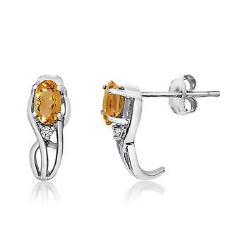 14K White Gold Curved Citrine and Diamond Earrings