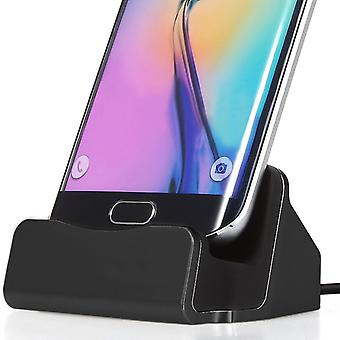 ONX3 (svart) Samsung Galaxy J5 Desktop lader Micro USB fotstativet Data synkronisere Docking ladestasjonen