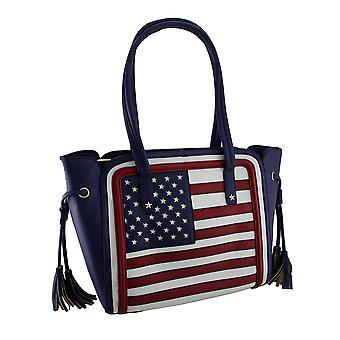 Strukturierte Stars And Stripes amerikanische Flagge inspiriert Kunstleder Handtasche