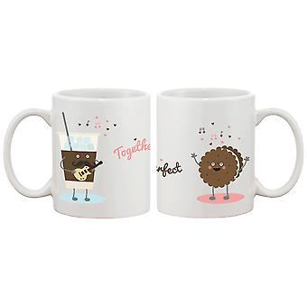 Ice Coffee Cookie Matching Couple Mugs - Perfect Wedding, Engagement, Anniversary, and Valentines Day Gift for Newlyweds