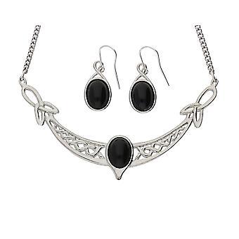 Conjunto de lazos hechos a mano de Triquetras celtas onix negro piedras preciosas collar peltre