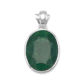 Sterling Silver Oval Faceted Beryl Pendant Charm
