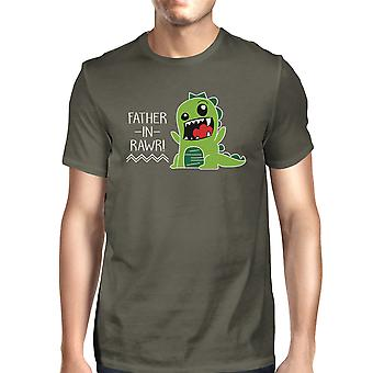 Father-In-Rawr Men's Dark Gray Funny Graphic Tee For Fathers Day