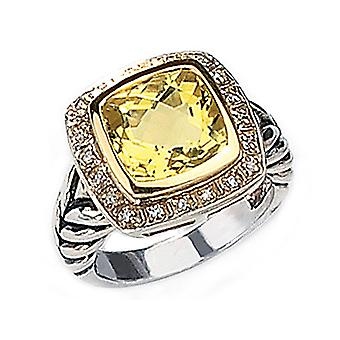 Lemon Quartz & Diamond Cable Ring 5.23 Carat (ctw) in Sterling Silver with 14K Gold Accents