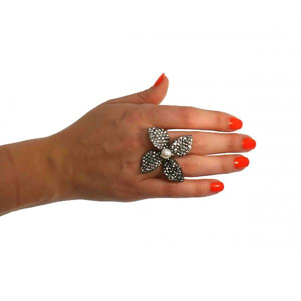 W.A.T Swarovski Crystal Four Petal Flower Ring