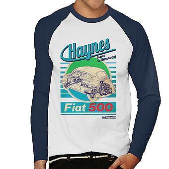 Haynes Workshop Manual Fiat 500 Blue Stripe Men's Baseball Long Sleeved T-Shirt